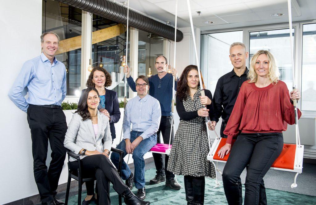"The SynerLeap team. From left: Peter Löfgren, Maria Aukland, Laila Wadstedt, Magnus Backman, Stefan Thorburn, Gaetana ""Seana"" Sapienza, Rolf Lindström, Camilla Kullborg. Photo: Jonas Bilberg"