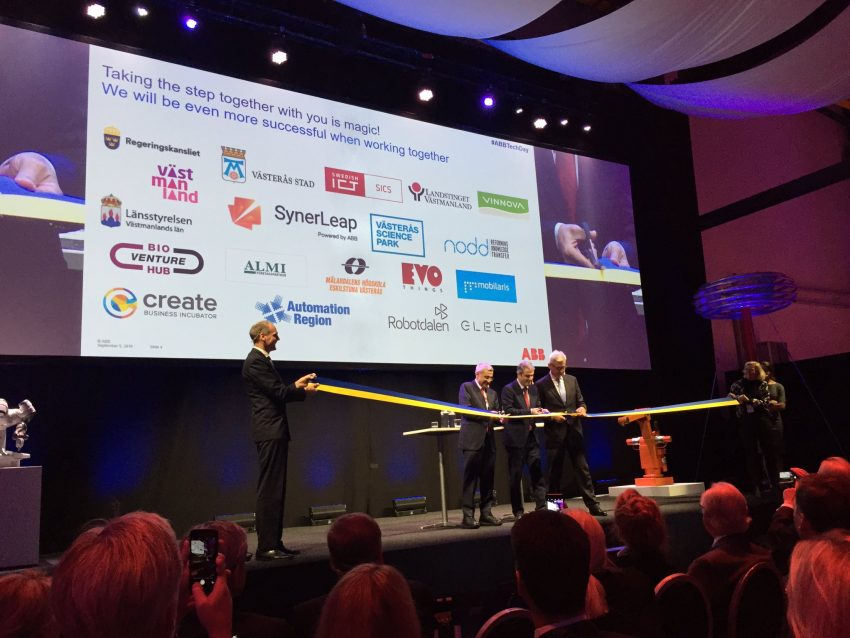 Inauguration of SynerLeap, September 5, 2016. Ibrahim Baylan, Minister of Energy and Policy Coordination, Bazmi Husain, ABB CTO, Ulrich Spiesshofer, ABB CEO is cutting the band.