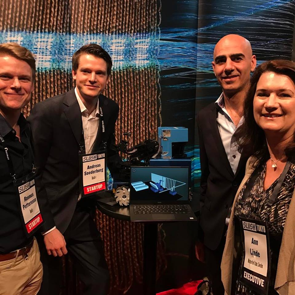 A picture from Slush Tokyo where (from the left) Rasmus Pettersson and Andreas Söderberg, Build-r, and Saeid Esmaeilzadeh, Serendipity, met with Ann Linde, Minister of Trade