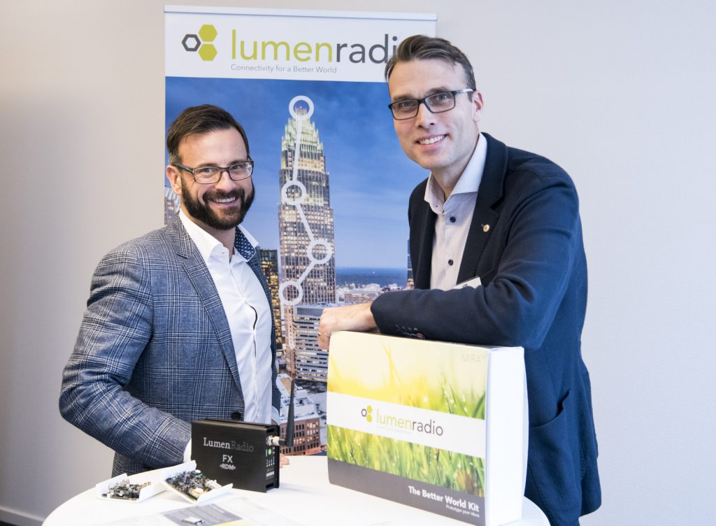 """""""We look forward to bringing our knowledge of future-proof connectivity to the table, and to co-create wireless applications worthy of bearing the ABB name"""" says Peter Lindkvist (right), sales director LumenRadio, here with Alexander Hellström, CEO, LumenRadio. Photo: Jonas Bilberg"""