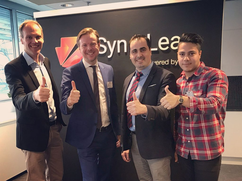 Graphmatech joins SynerLeap. From left: Peter Löfgren, SynerLeap, with Björn Lindh, Mamoun Taher and Zargham Jabri from Graphmatech.